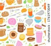 breakfast seamless pattern.... | Shutterstock .eps vector #1761973049