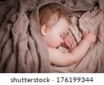 sleep little baby nestled cozy... | Shutterstock . vector #176199344