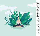 yoga exercise on nature. relax... | Shutterstock .eps vector #1761993629