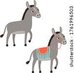 donkeys. vector farm animals...   Shutterstock .eps vector #1761996503