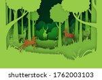deer willdlife in green jungle... | Shutterstock .eps vector #1762003103