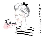 cute fashion woman | Shutterstock .eps vector #176203874