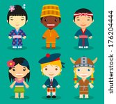 happy world kids set with... | Shutterstock .eps vector #176204444