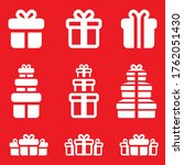gift box icon set on red... | Shutterstock .eps vector #1762051430