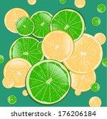 lemon and lime  vector... | Shutterstock .eps vector #176206184