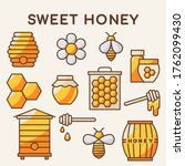 Organic Honey Products Icon Set....