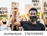 Small photo of Black lives matter activist movement protesting against racism and fighting for equality - Demonstrators from different cultures and race protest on street for justice and equal rights