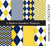 Navy Blue, Yellow and White with Sky Blue Accent Lines Argyle and Chevron Seamless Patterns. Navy Yellow Nautical or Golf Backgrounds. Pattern Swatches included and made with Global Colors. - stock vector