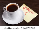 cup of coffee on the table and valentines - stock photo