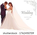 wedding card. bride and groom...   Shutterstock .eps vector #1762450709