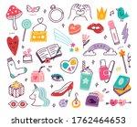 set of vector cute girly doodles   Shutterstock .eps vector #1762464653
