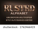 rusted alphabet font. ancient... | Shutterstock .eps vector #1762466423