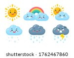 cute weather icon set. weather... | Shutterstock .eps vector #1762467860