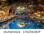 Cave Jameos del Agua, natural cave and pool created by the eruption of the Monte Corona volcano in Lanzarote, Canary Islands, Spain