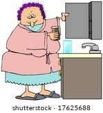 woman opening her medicine...   Shutterstock . vector #17625688