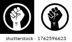 black raised fist protest... | Shutterstock .eps vector #1762596623