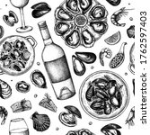 seafood and wine illustrations... | Shutterstock .eps vector #1762597403