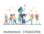 young teacher with joyful kids... | Shutterstock .eps vector #1762621556