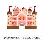 pink castle vector cartoon... | Shutterstock .eps vector #1762707383