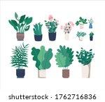 different houseplants flat... | Shutterstock .eps vector #1762716836