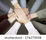 team of businesspeople showing...   Shutterstock . vector #176275058