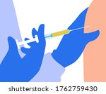 the doctor gives an injection... | Shutterstock .eps vector #1762759430