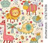 whimsical animals illustration | Shutterstock .eps vector #176276036
