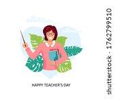 happy teacher's day. smiling... | Shutterstock .eps vector #1762799510