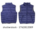 Male Blue Quilted Vest Isolate...