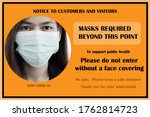 wear face mask safety sign. the ... | Shutterstock . vector #1762814723