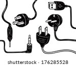 set of plug in socket in doodle ... | Shutterstock . vector #176285528