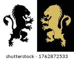 two heraldic rampant lion... | Shutterstock .eps vector #1762872533