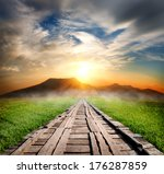 wooden road in the mountains at ... | Shutterstock . vector #176287859
