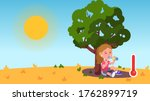 girl kid sitting under tree... | Shutterstock .eps vector #1762899719