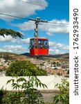 Small photo of Zacatecas, Mexico - October 27, 2006: The only cable-car system in the world to traverse an entire city. It leads directly to the shrine of El Patrocinio, atop Cerro de la Bufa mountain.