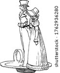 A decorative coal scuttle or a hood that is in the form of a bucket like container to contain supply of coal suitable to an indoor coal-fired stove, vintage line drawing or engraving illustration