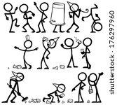 stickfigure party | Shutterstock .eps vector #176297960