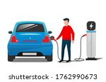 blue electric car at the... | Shutterstock .eps vector #1762990673