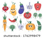 vegetable mascots. happy carrot ...   Shutterstock . vector #1762998479