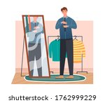 man getting dressed in front of ... | Shutterstock .eps vector #1762999229