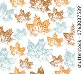 maple leaf paint watercolor.... | Shutterstock .eps vector #1763037539