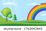 fantastic scape with rainbow on ...   Shutterstock .eps vector #1763042843