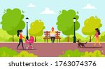 park activity. man sitting with ... | Shutterstock .eps vector #1763074376