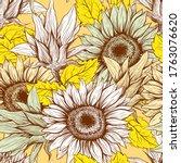 Sunflowers Field Seamless...