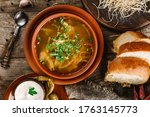 chicken soup or broth with... | Shutterstock . vector #1763145773