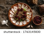 sliced salted lard and bacon... | Shutterstock . vector #1763145830