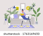 young female character sitting... | Shutterstock .eps vector #1763169650