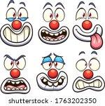 cartoon clown face with... | Shutterstock .eps vector #1763202350