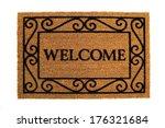 door mat  friendly welcome door ... | Shutterstock . vector #176321684