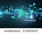 laptop lighting up against... | Shutterstock . vector #176323019